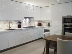 Kitchen Cabinets Without Handles Custom Kitchen Design White High Gloss Handle Less
