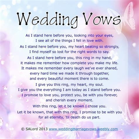 romantic wedding vows sle marriage vow exles