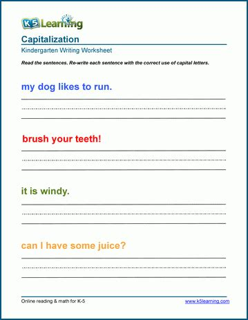capitalize first letters of sentences worksheets k5 learning