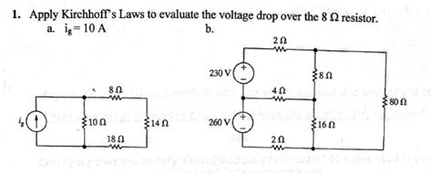 resistors kirchhoff s apply kirchhoff s laws to evaluate the voltage dro chegg