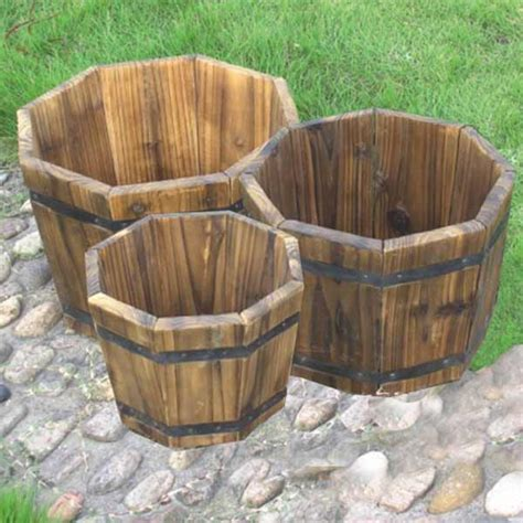 Garden Planters Sale by Fsc Fir Octagonal Planters Set Of 3 On Sale Fast