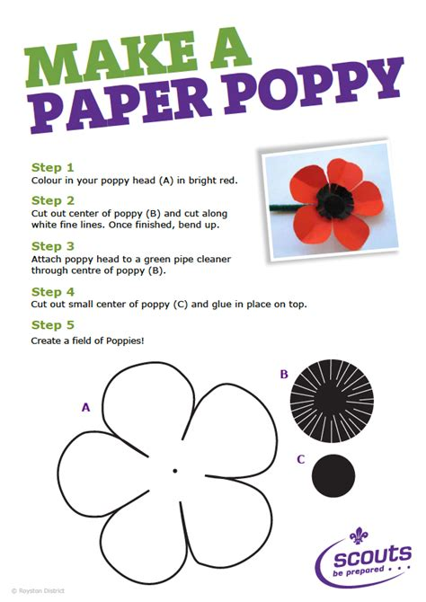 Make Paper Poppies - make a poppy for remembrance day royston scouts