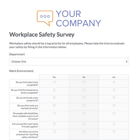 workplace safety program template employee safety survey template employee survey sle
