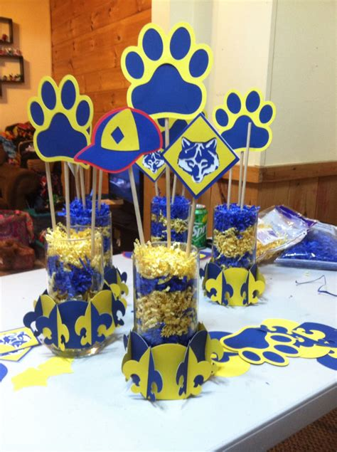 themes for blue and gold banquet blue gold centerpieces using cricut cub scout cartridge