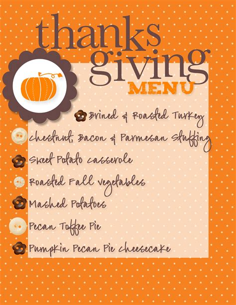 thanksgiving menue our thanksgiving menu made with my digital studio