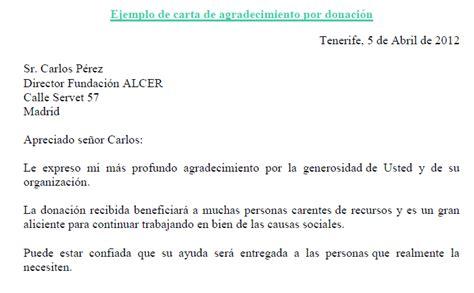 Carta De Terminacion De Servicio Comunitario ejemplo de carta de agradecimiento por donaci 243 n ejemplos de carta