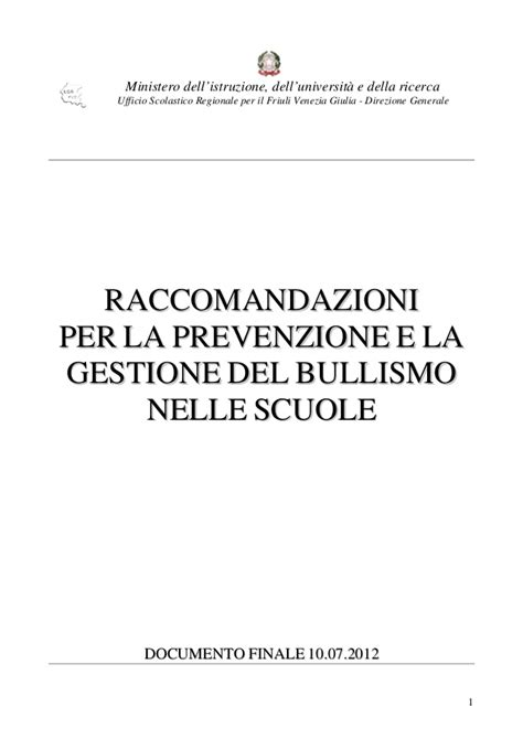 ufficio scolastico regionale per il friuli venezia giulia linee guida friuli bullismo