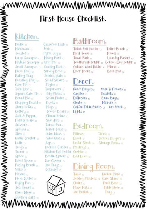 printable first house essentials checklist free printable check list for the essentials to buy for a