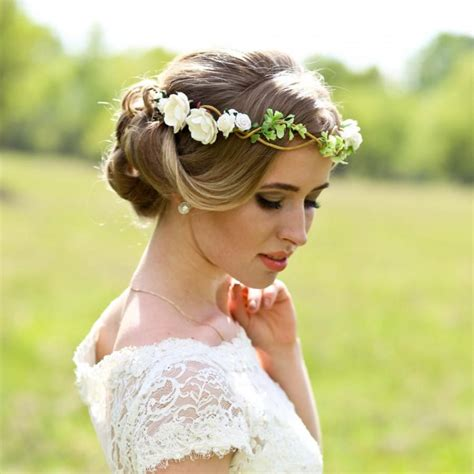 Wedding Hair With Flower Crown by Flower Crown Wedding Headpiece Woodland Flower Bridal