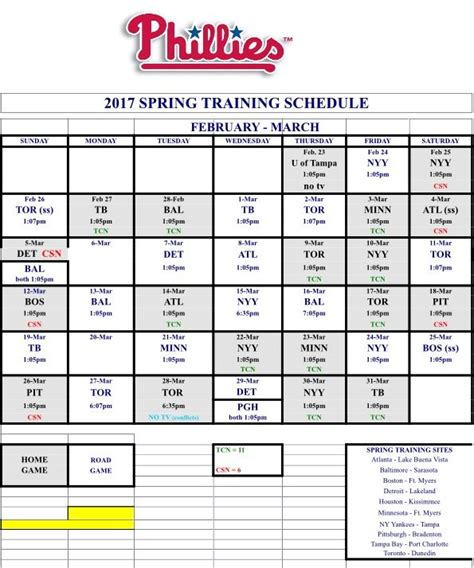 Phillies 2017 Printable Schedule