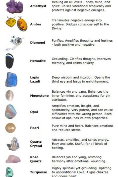 healing crystals chart healing rocks gems