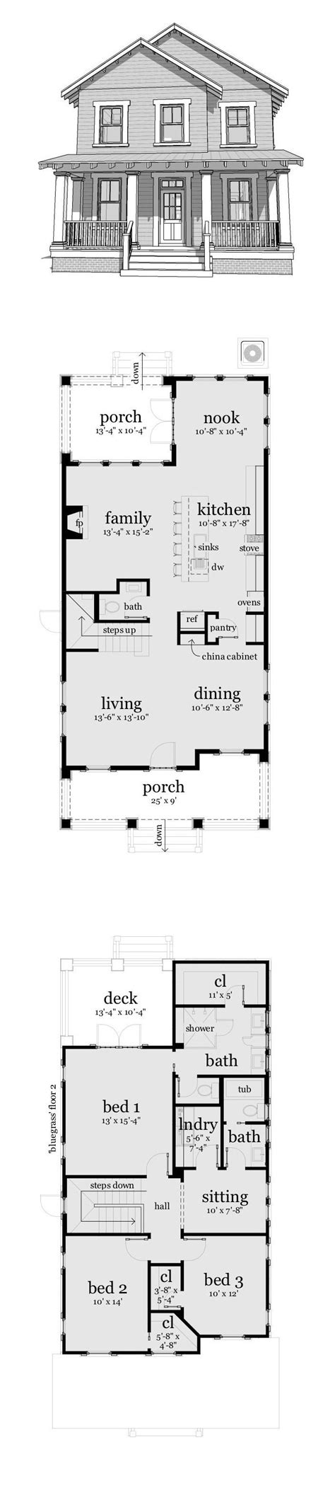 narrow 3 story house plans