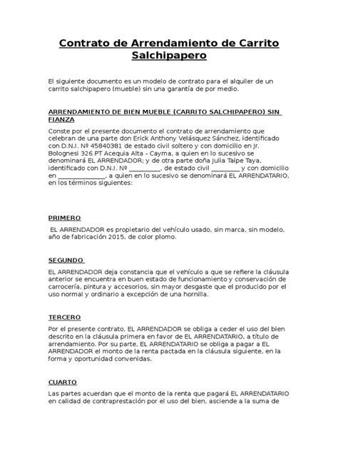contrato de alquiler simple contrato de arrendamiento de carrito salchipapero