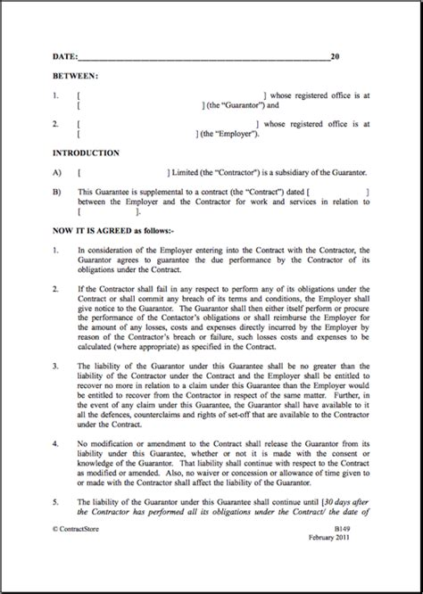 parental agreement template parent company guarantee template contractstore