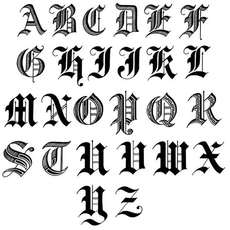 tattoo fonts old english style writing letters in image 10 coloring pages and
