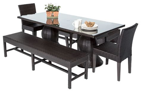 Patio Dining Set With Bench Saturn Rectangular Outdoor Patio Dining Table With 2 Chairs And 2 Benches Contemporary