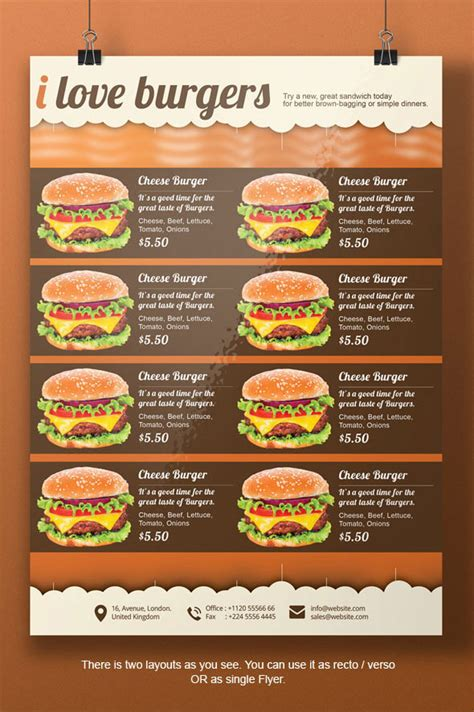 burger menu template burger a4 flyer template on behance