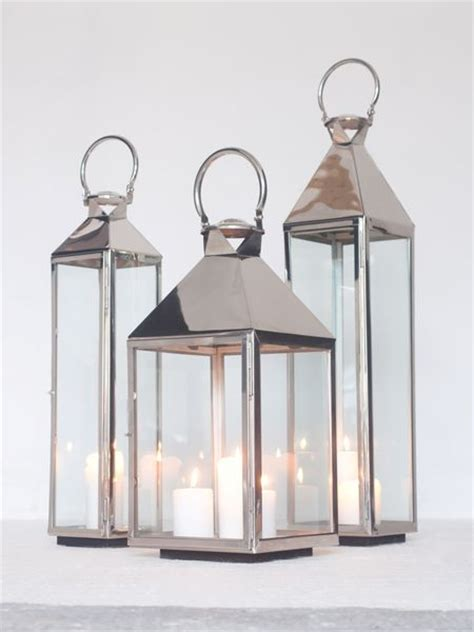 Large Silver Candle Lanterns by Stainless Steel Lanterns Metal Lanterns Stainless