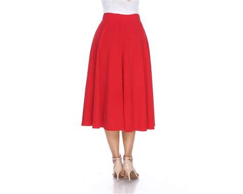 Wedges Pocket Flare Skirt white flared midi skirt with pocket