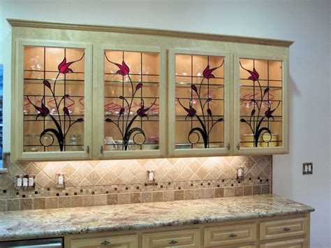 Stained Glass Kitchen Cabinets Stained Glass Cabinet Inserts Hawkings Residence Traditional Kitchen Other Metro By