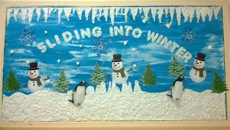 Kindergarten Classroom Decorating Themes - sliding into winter winter bulletin board idea