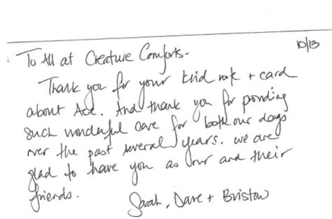 Handwritten Thank You Note For Donation Handwritten Spitz Thank You Note