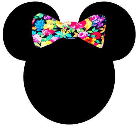 Mickey Minnie Bow by Minnie Mickey Bow Floral Pattern Silhouette T Shirt