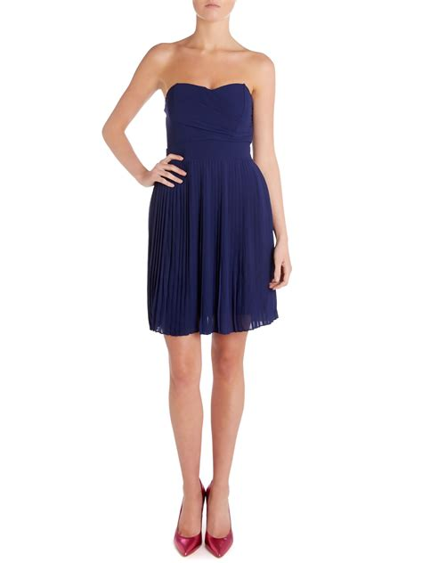 tfnc strapless bandeau pleated skirt dress in blue