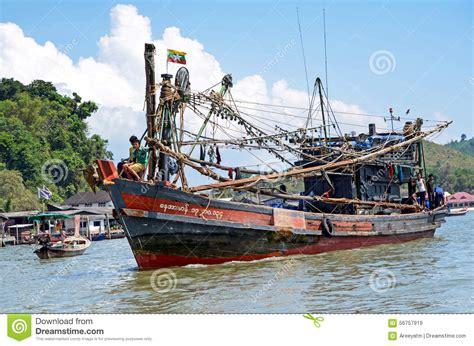 myanmar fishing boat in thai sea near ranong fish market - Boat Sales Thailand