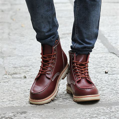 mens fashionable boots autumn new designer boots leisure lace up boots
