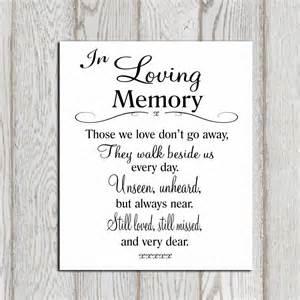 memory poem template wedding memorial table in loving memory printable memorial