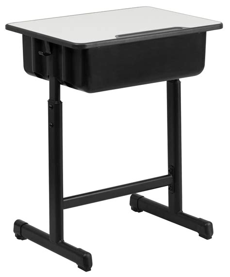 adjustable height student desk and chair with black pedestal frame gray top student desk with adjustable height black