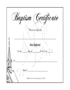 baptism certification letter baptism certificate fill printable fillable