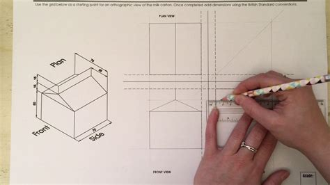 9 Drawings For Projection by Third Angle Orthographic Projection