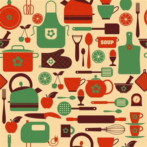 kitchen pattern background seamless kitchen pattern vector free download