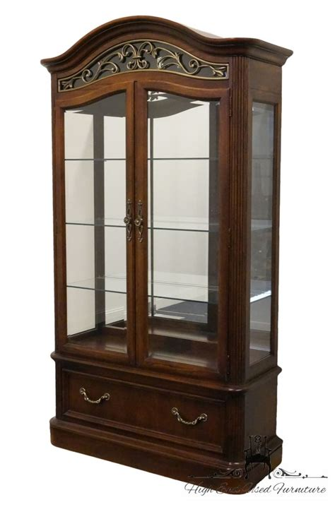 curio cabinet with light high end used furniture stanley furniture 46 lighted