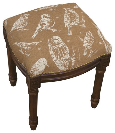 Rustic Vanity Stool by Bird Linen Upholstered Vanity Stool With Nailheads