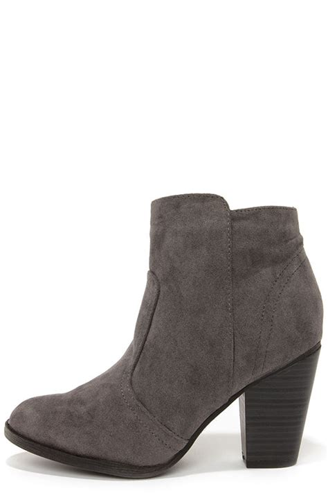 grey boots suede boots ankle boots booties 34 00