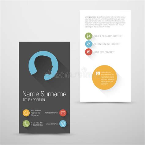 business card template millions of users modern vertical business card template with flat user