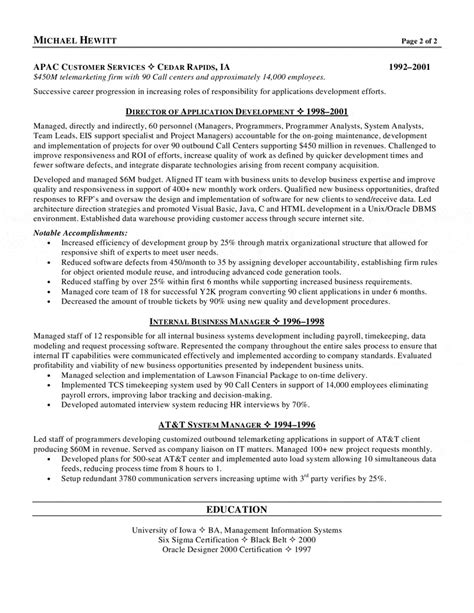 cio resume sles sales marketing resume objective sle program to type my