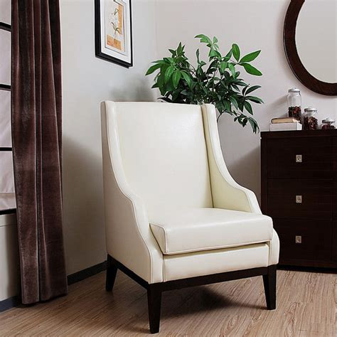Lummi White Leather High Back Chair Contemporary Modern High Back Chairs For Living Room