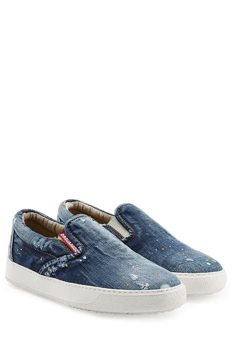 Sneakers Denim 1 dsquared 178 denim slip on sneakers blue in blue for lyst