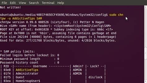 free reset windows 7 password with chntpw live usb reset lost windows 7 user account password with ubuntu