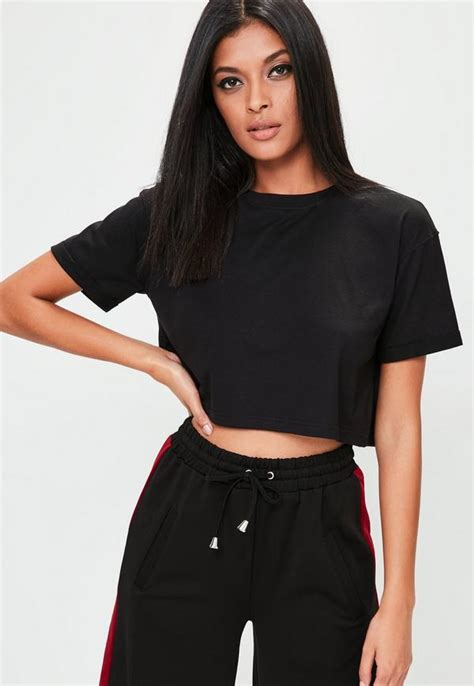 black best black roll sleeve crop top missguided