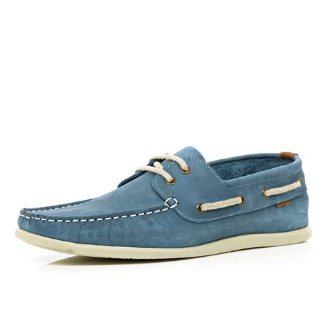 river island shoes river island light blue boat shoes in blue for lyst