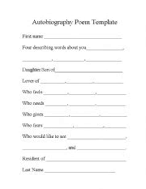 student biography card template worksheets autobiography poem template