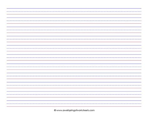 printable 2nd grade writing paper 8 best images of printable lined writing paper landscape