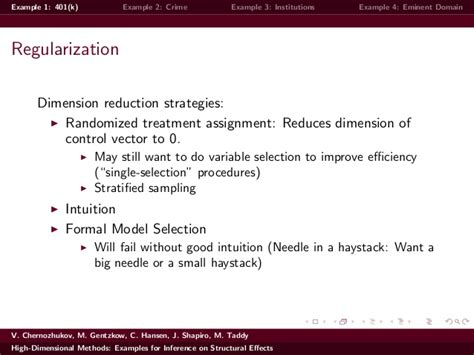 exle of inference high dimensional methods exles for inference on structural effects