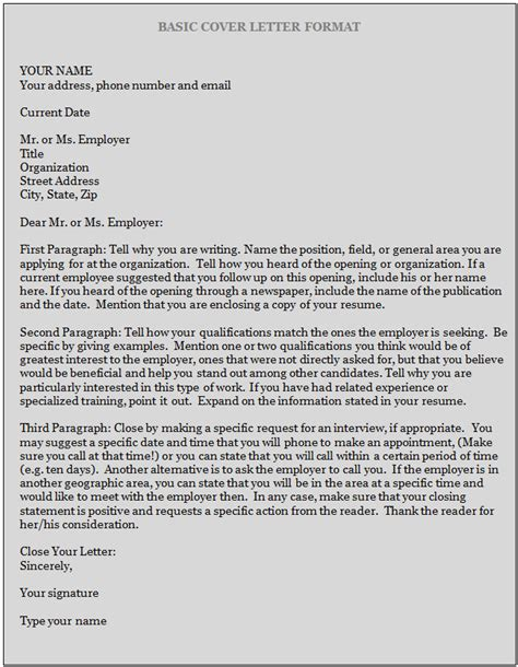 cover letter format sle of a cover letter sle business letter
