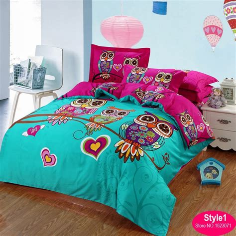 childrens twin comforters 100 cotton adult kids owl bedding set red rose 3d bedding